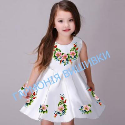 """Платье детское """"Квіти шипшини"""" юбка полукльош, без рукавов"""