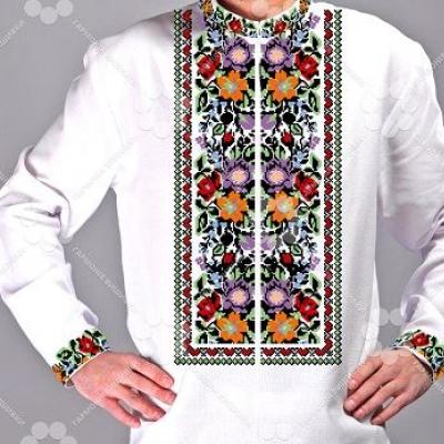 """Сорочка мужская """"Борщівські мотиви 25,3"""" зі спинкою"""